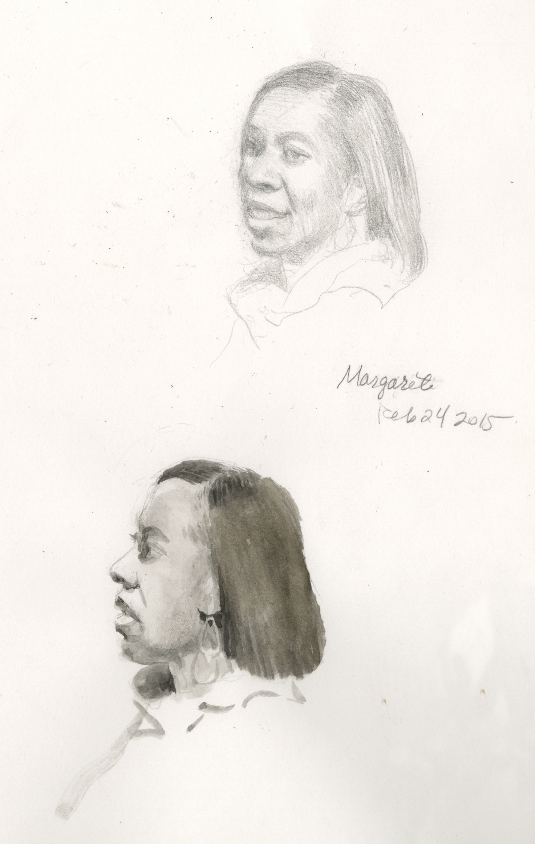 Margaret J., pencil and watercolor