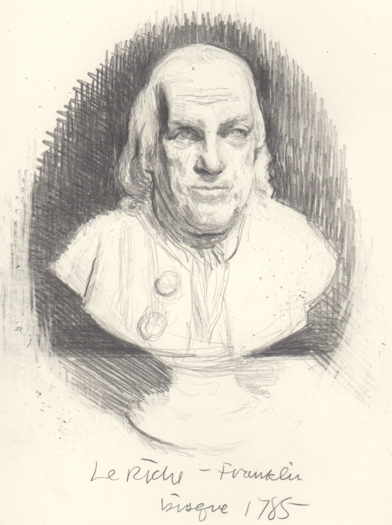 Le Riche, Benjamin Franklin, bisque. Pencil 3x5