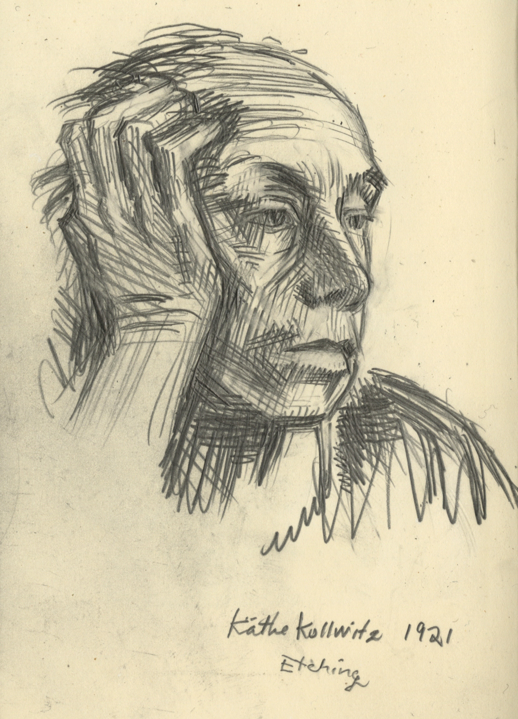 Drawing after Kollwitz self portrait litho