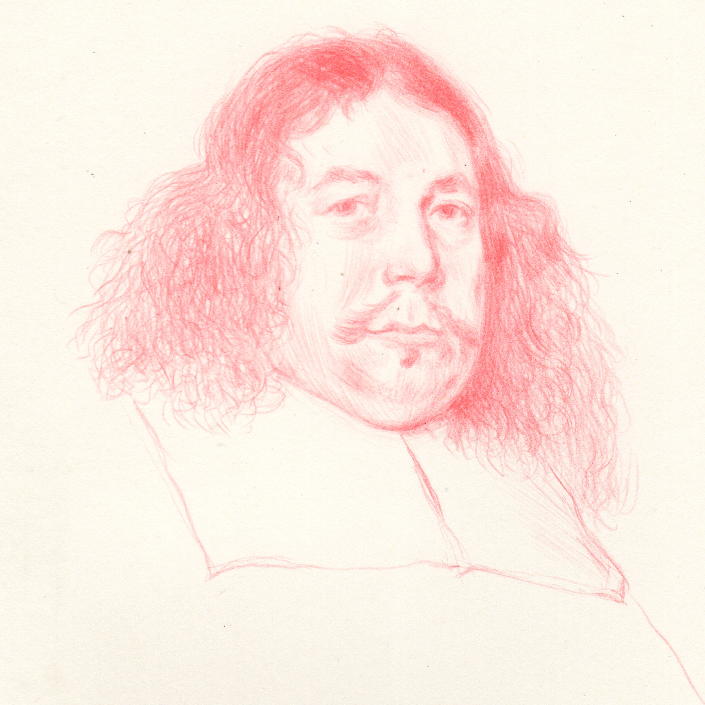 Drawing of Burgomaster portrait after Borch masterpiece