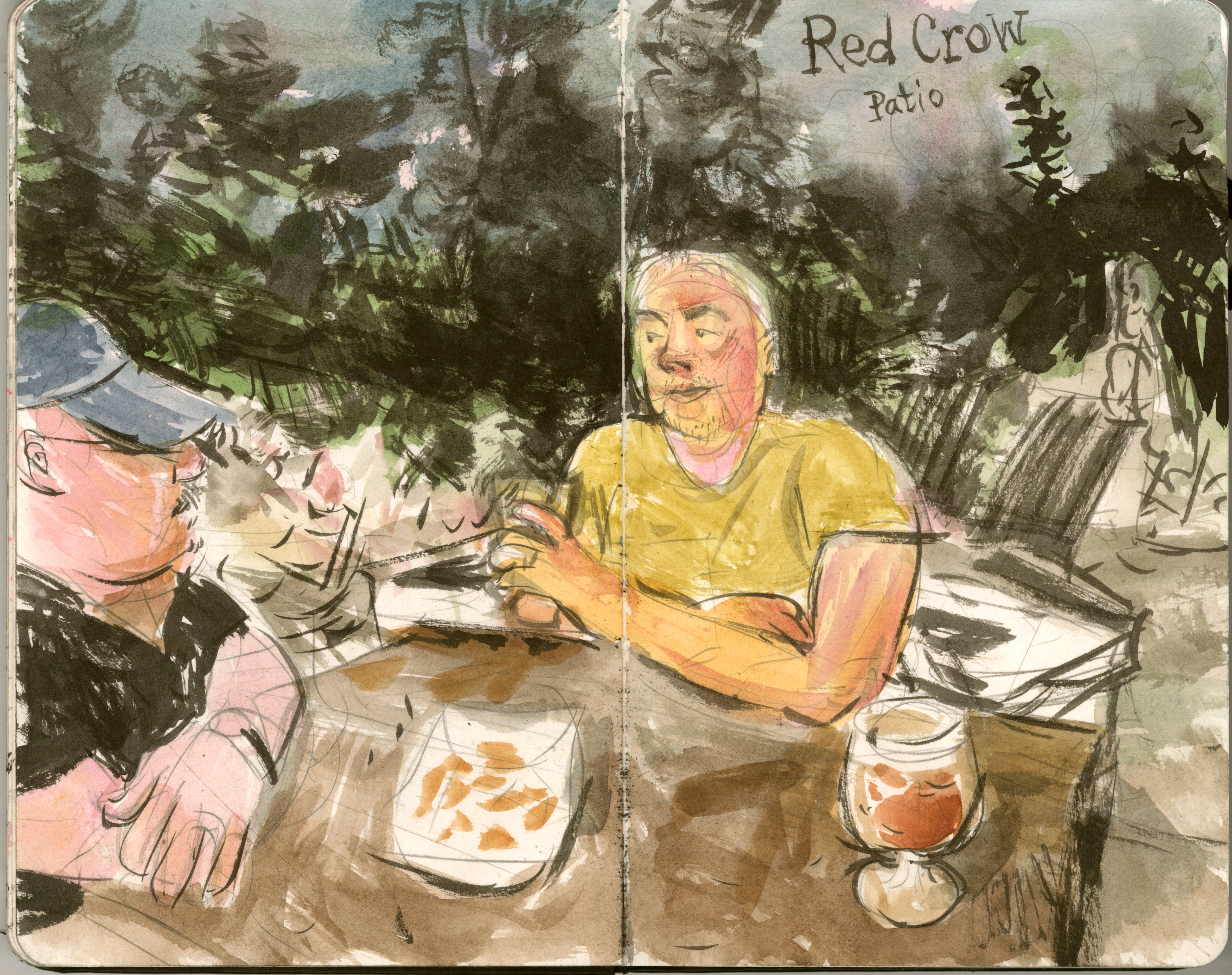 Watercolor of Bill and Curt on the patio of Red Crow Brewing in Stillwell, KS