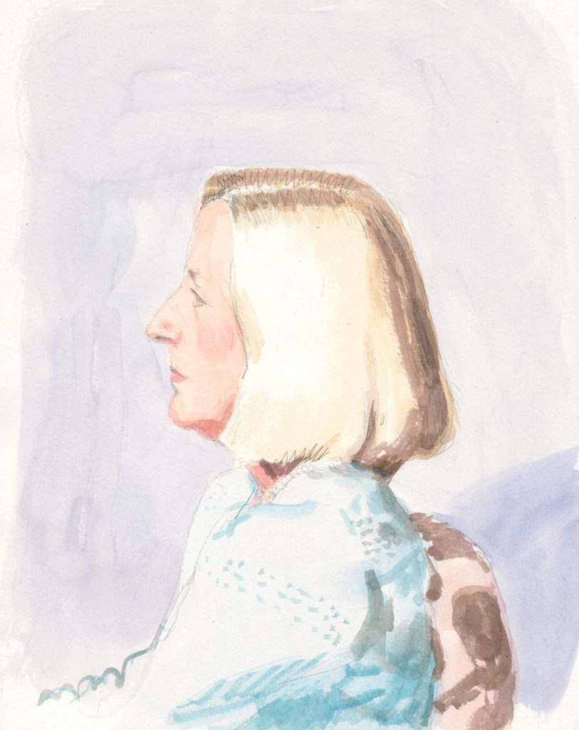 Ellen Junger. Pencil and watercolor, 5x7""