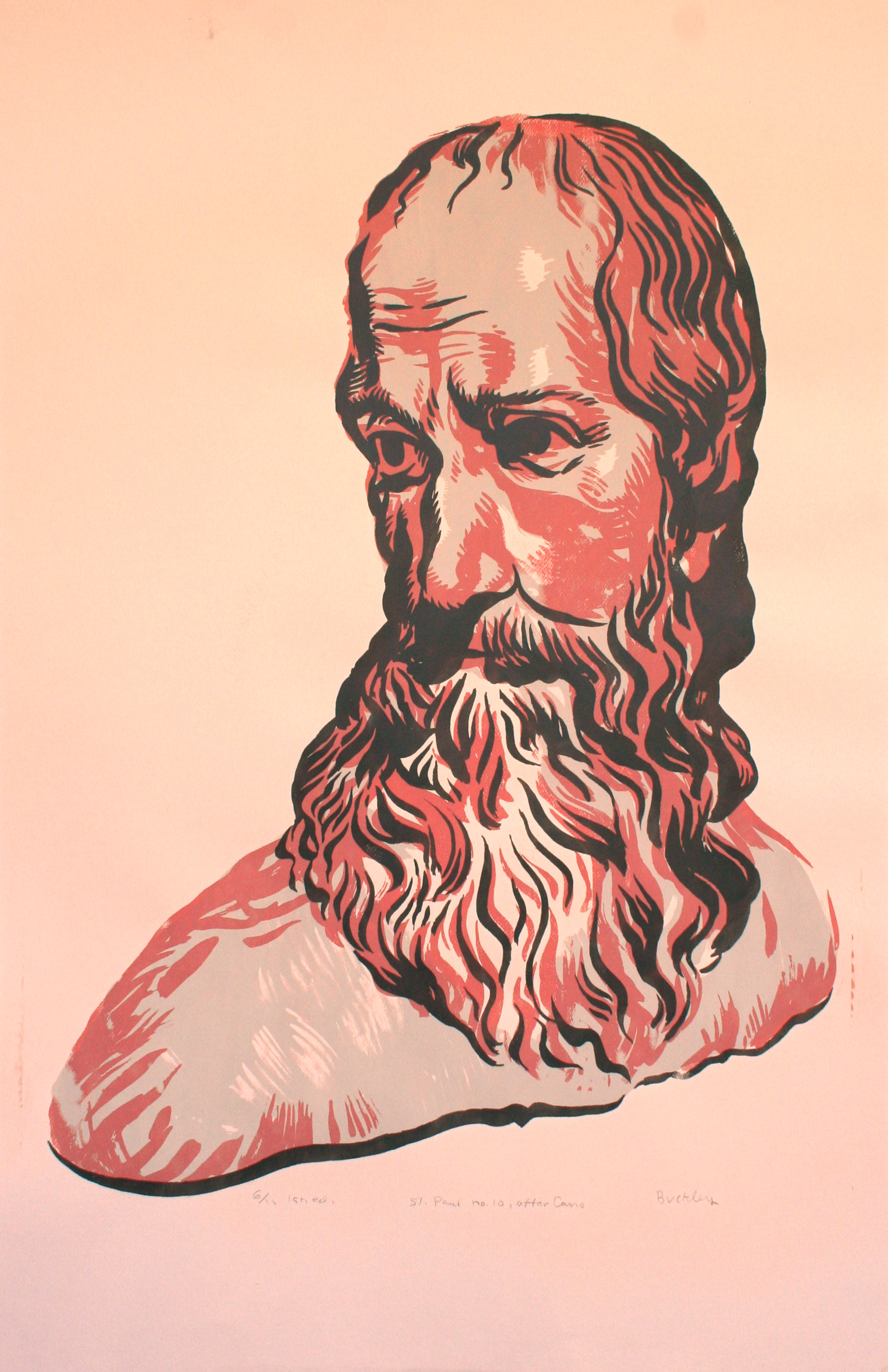 St. Paul no. 10, after Cano. 1st ed. 6/11 Image 70 x 50 cm, screen print on pink cover stock