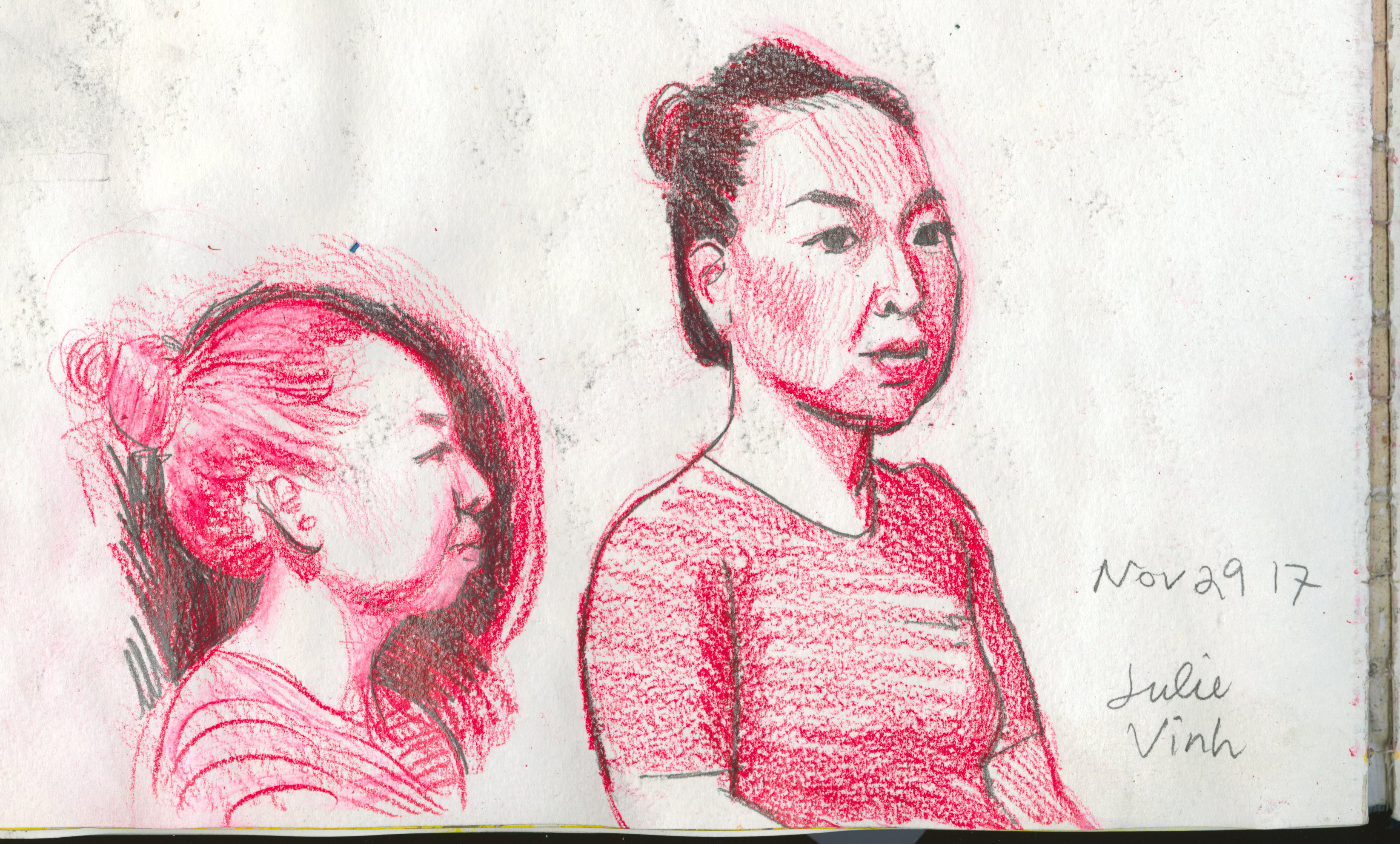 """Pencil and red china marker on paper. 7 x 5"""""""